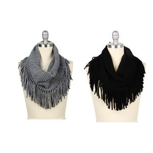 Fringed Ribbed Knit Infinity Scarf Set